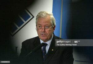 (AUSTRALIA OUT) ASIC chairman Jeffrey Lucy at a press conference after the sentencing of HIH executive Ray Williams, 15 April 2005. SMH Picture by ROBERT PEARCE (Photo by Fairfax Media via Getty Images/Fairfax Media via Getty Images via Getty Images)